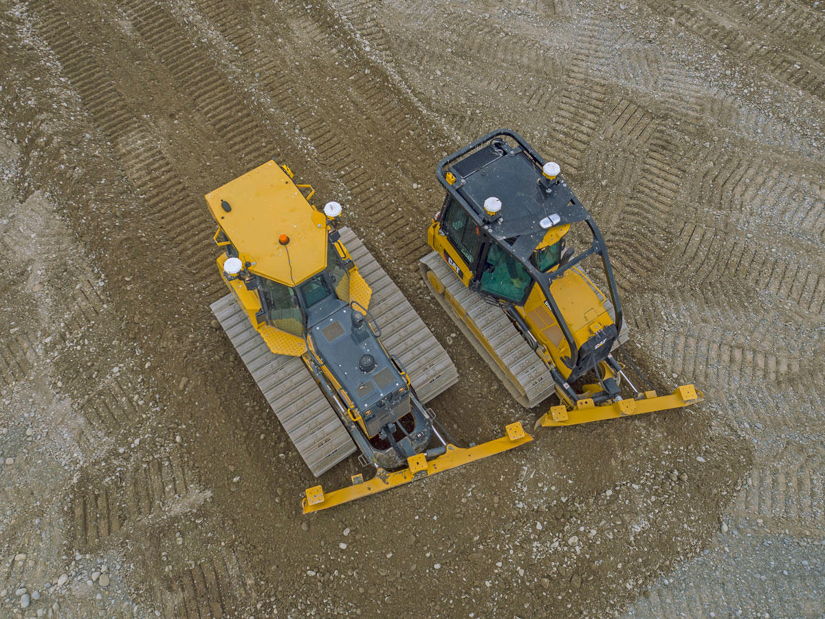 Aerial view of two dozers with machine control