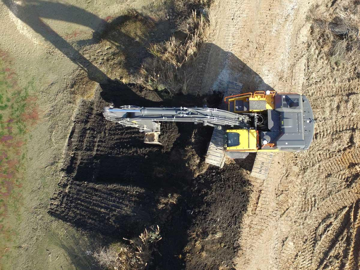 Aerial view of excavator with machine control